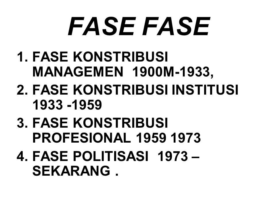 FASE 1.FASE KONSTRIBUSI MANAGEMEN 1900M-1933, 2.FASE KONSTRIBUSI INSTITUSI 1933 -1959 3.FASE KONSTRIBUSI PROFESIONAL 1959 1973 4.FASE POLITISASI 1973