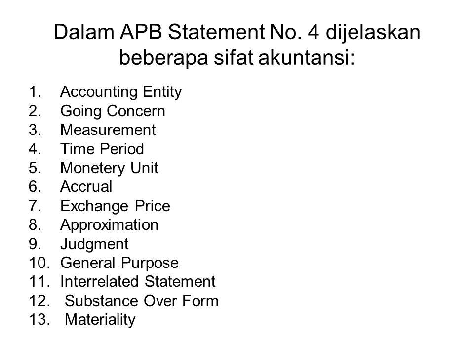 Dalam APB Statement No. 4 dijelaskan beberapa sifat akuntansi: 1.Accounting Entity 2.Going Concern 3.Measurement 4.Time Period 5.Monetery Unit 6.Accru