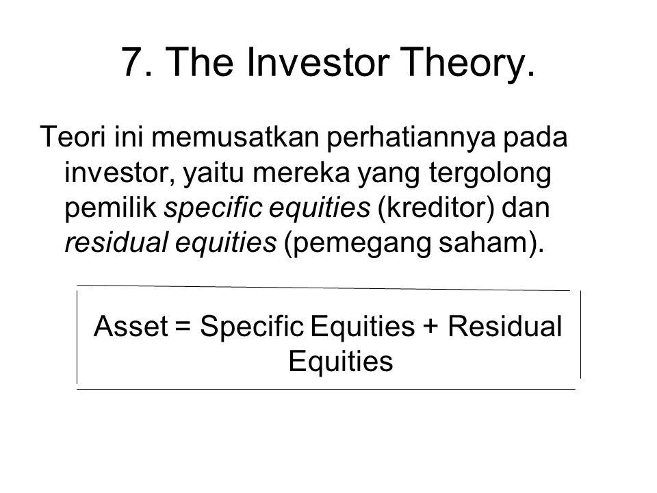 7. The Investor Theory. Teori ini memusatkan perhatiannya pada investor, yaitu mereka yang tergolong pemilik specific equities (kreditor) dan residual