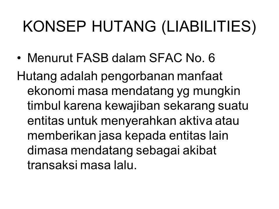 KONSEP HUTANG (LIABILITIES) Menurut FASB dalam SFAC No. 6 Hutang adalah pengorbanan manfaat ekonomi masa mendatang yg mungkin timbul karena kewajiban