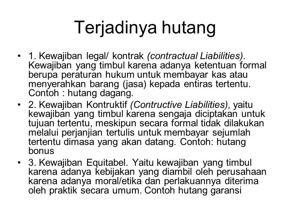 Terjadinya hutang 1. Kewajiban legal/ kontrak (contractual Liabilities). Kewajiban yang timbul karena adanya ketentuan formal berupa peraturan hukum u