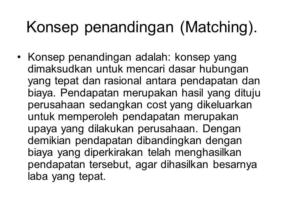 Konsep penandingan (Matching). Konsep penandingan adalah: konsep yang dimaksudkan untuk mencari dasar hubungan yang tepat dan rasional antara pendapat