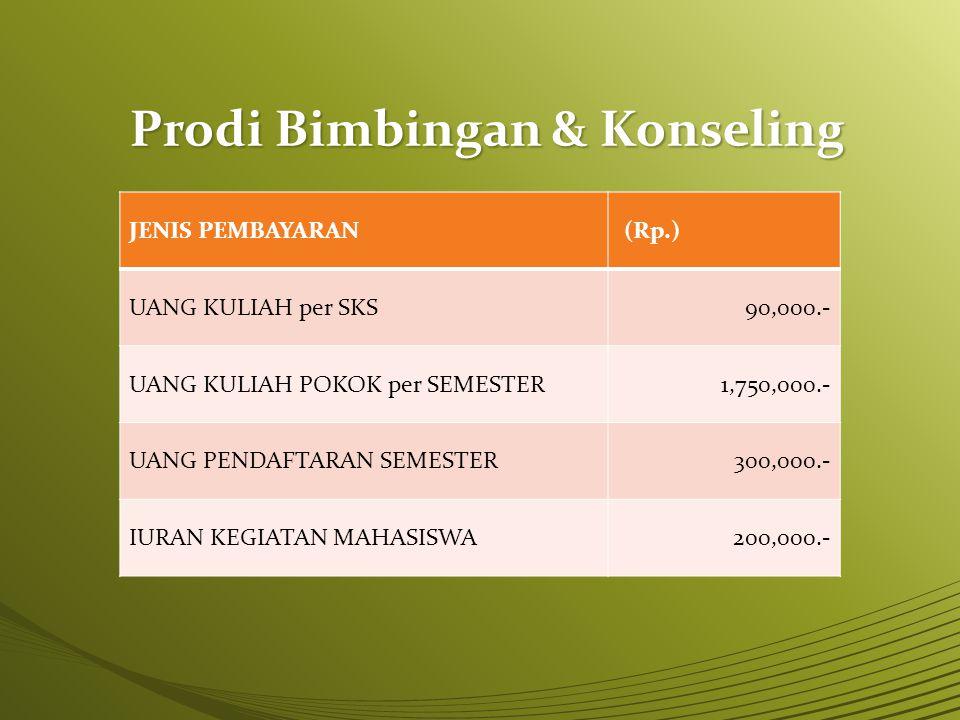 Prodi Bimbingan & Konseling JENIS PEMBAYARAN (Rp.) UANG KULIAH per SKS90,000.- UANG KULIAH POKOK per SEMESTER1,750,000.- UANG PENDAFTARAN SEMESTER300,