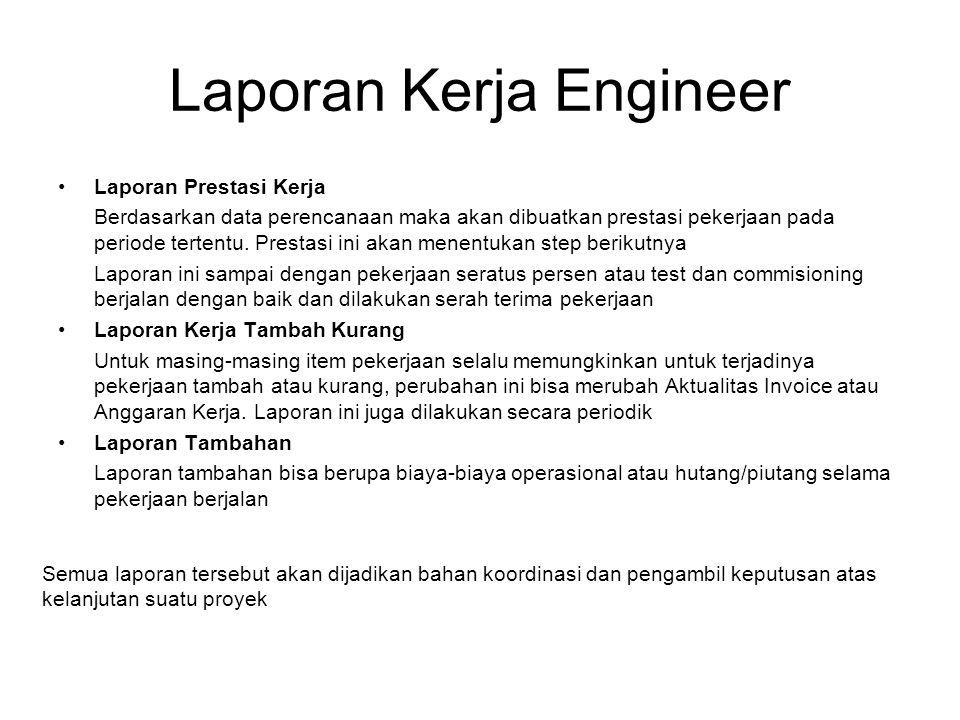 Laporan Kerja Engineer Laporan Prestasi Kerja Berdasarkan data perencanaan maka akan dibuatkan prestasi pekerjaan pada periode tertentu.