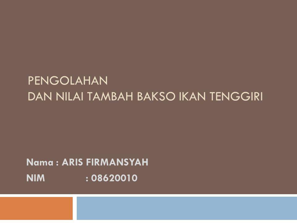 PENGOLAHAN DAN NILAI TAMBAH BAKSO IKAN TENGGIRI Nama: ARIS FIRMANSYAH NIM: 08620010