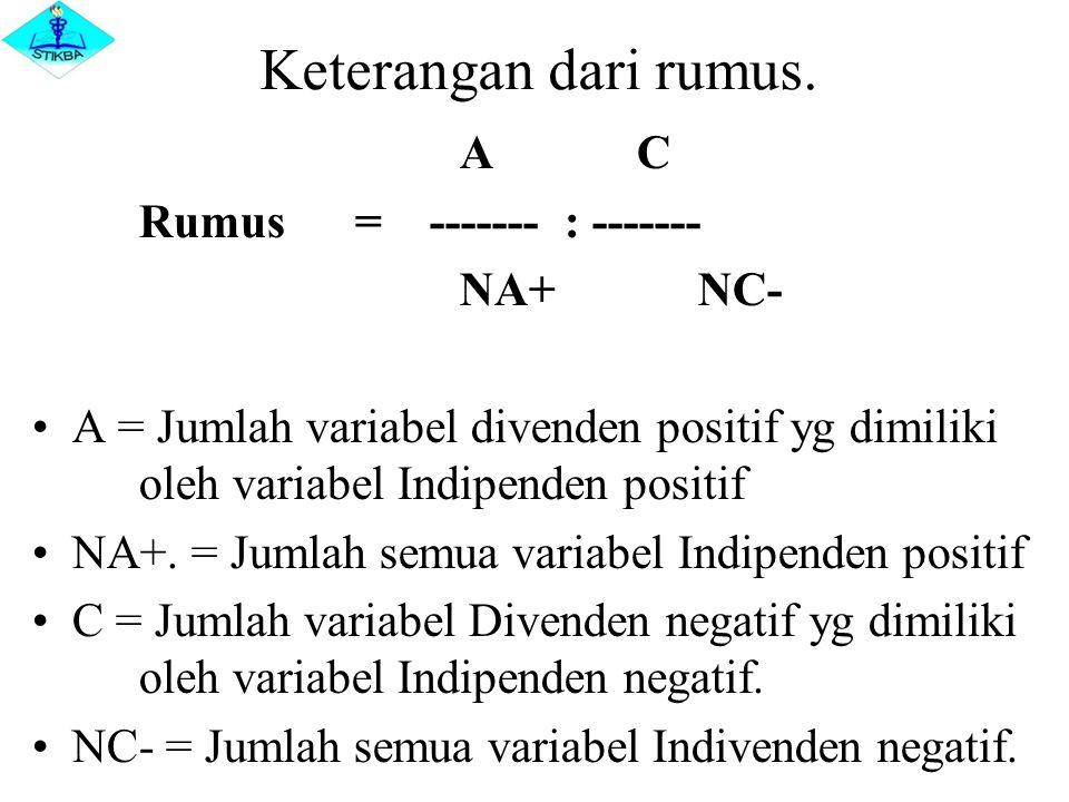 Keterangan dari rumus. A C Rumus = ------- : ------- NA+ NC- A = Jumlah variabel divenden positif yg dimiliki oleh variabel Indipenden positif NA+. =