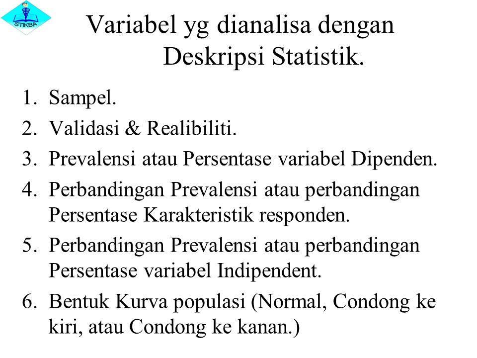 Variabel yg dianalisa dengan Deskripsi Statistik. 1.Sampel. 2.Validasi & Realibiliti. 3.Prevalensi atau Persentase variabel Dipenden. 4.Perbandingan P