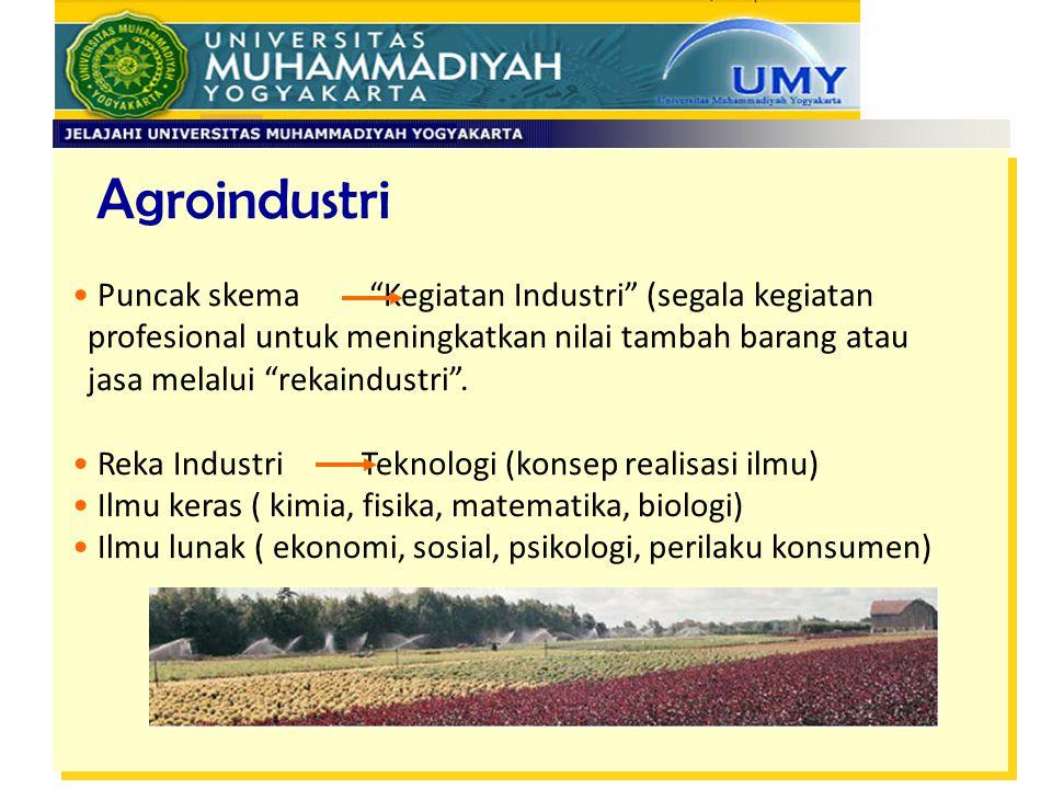 """Agroindustri Puncak skema """"Kegiatan Industri"""" (segala kegiatan profesional untuk meningkatkan nilai tambah barang atau jasa melalui """"rekaindustri"""". Re"""