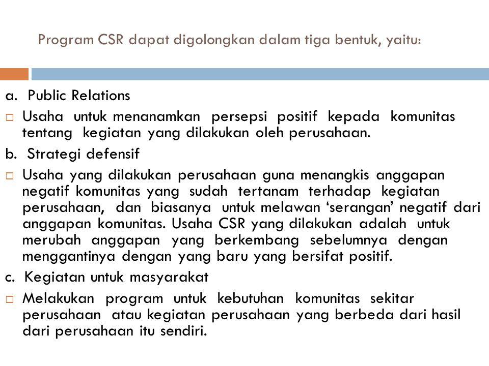 Program CSR dapat digolongkan dalam tiga bentuk, yaitu: a.