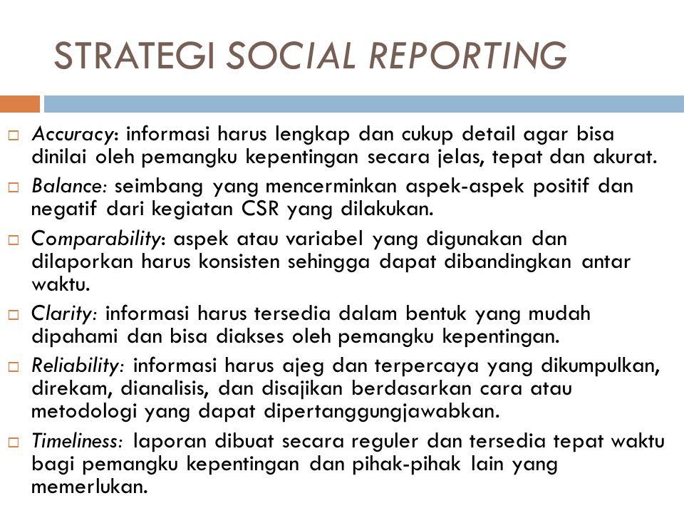 STRATEGI SOCIAL REPORTING  Accuracy: informasi harus lengkap dan cukup detail agar bisa dinilai oleh pemangku kepentingan secara jelas, tepat dan akurat.