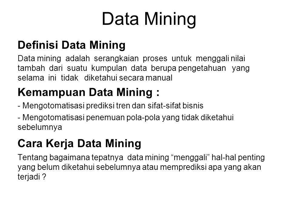 Teknik-teknik Data Mining 1.Clustering 2.Induksi (pohon keputusan dan aturan induksi) 3.Jaringan syaraf buatan (Neural Network) 4.OLAP (On-line Analytical Processing) 5.Visualisasi Data Peralatan Data Mining Karakteristik yang terpenting dari peralatan data mining: Fasilitas persiapan data Skalabilitas produk dan kinerja Fasilitas untuk visualisasi hasil