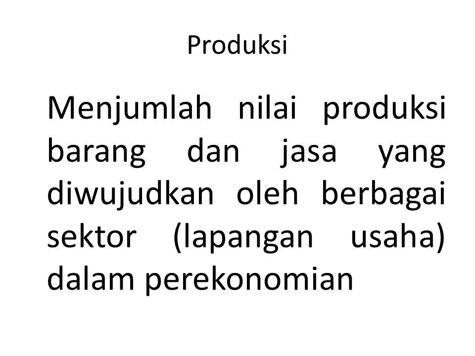 Produksi Menjumlah nilai produksi barang dan jasa yang diwujudkan oleh berbagai sektor (lapangan usaha) dalam perekonomian