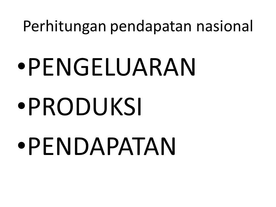 Perhitungan pendapatan nasional PENGELUARAN PRODUKSI PENDAPATAN