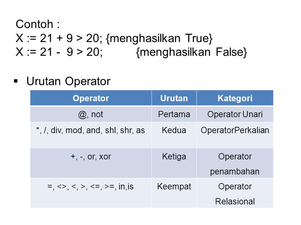 Contoh : X := 21 + 9 > 20; {menghasilkan True} X := 21 - 9 > 20; {menghasilkan False}  Urutan Operator OperatorUrutanKategori @, notPertamaOperator Unari *, /, div, mod, and, shl, shr, asKeduaOperatorPerkalian +, -, or, xorKetiga Operator penambahan =, <>,, =, in,isKeempatOperator Relasional