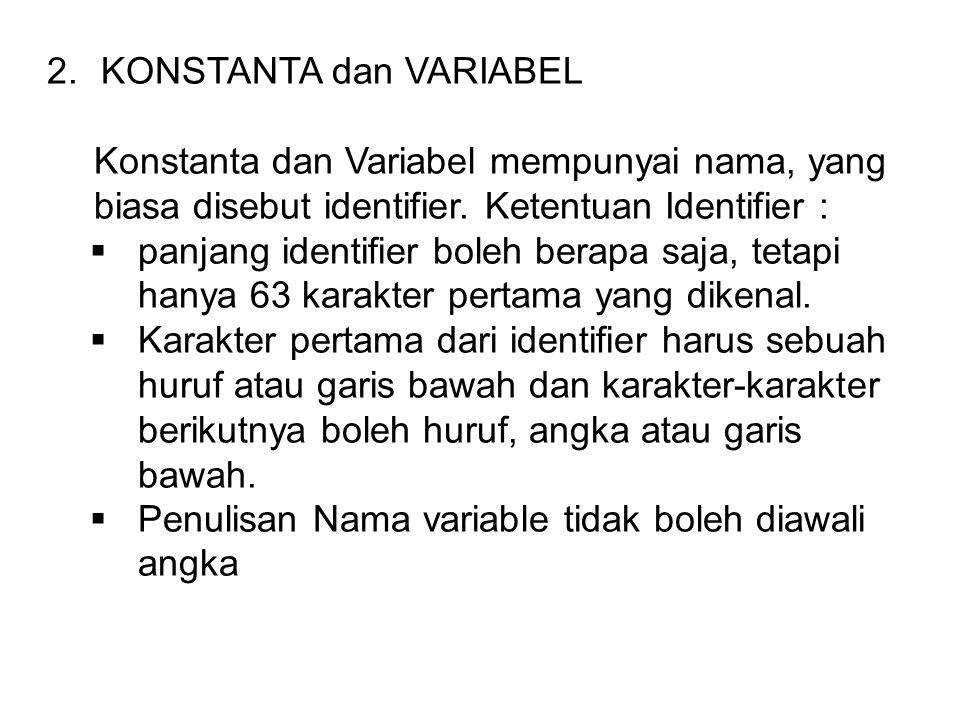 2.KONSTANTA dan VARIABEL Konstanta dan Variabel mempunyai nama, yang biasa disebut identifier.