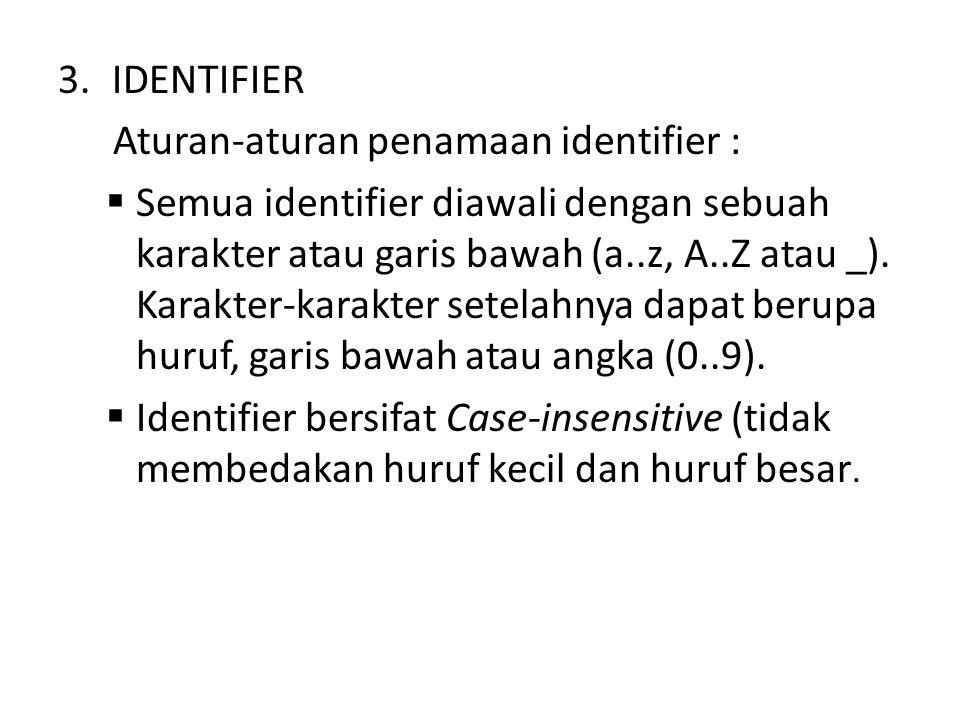 3.IDENTIFIER Aturan-aturan penamaan identifier :  Semua identifier diawali dengan sebuah karakter atau garis bawah (a..z, A..Z atau _).