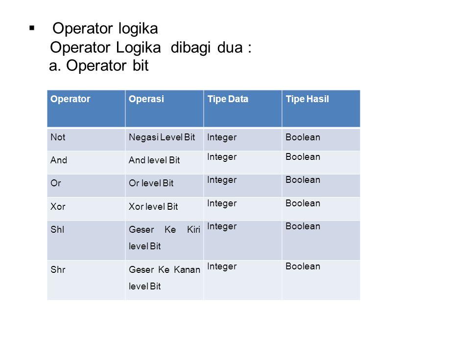  Operator logika Operator Logika dibagi dua : a.