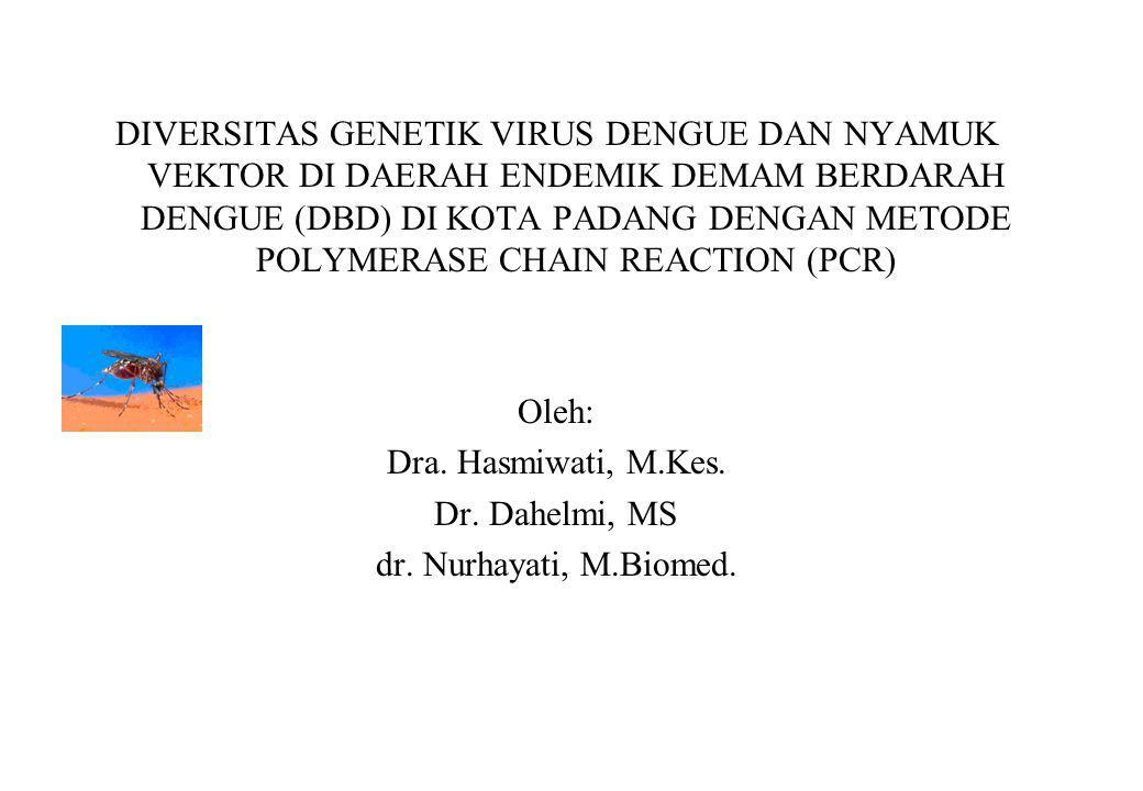 Hasmiwati : Ketua peneliti - Survey,koleksi sampel,identifikasi nyamuk vektor, isolasi RNA/DNA,amplifikasi,mmengolah data,membuat laporan.