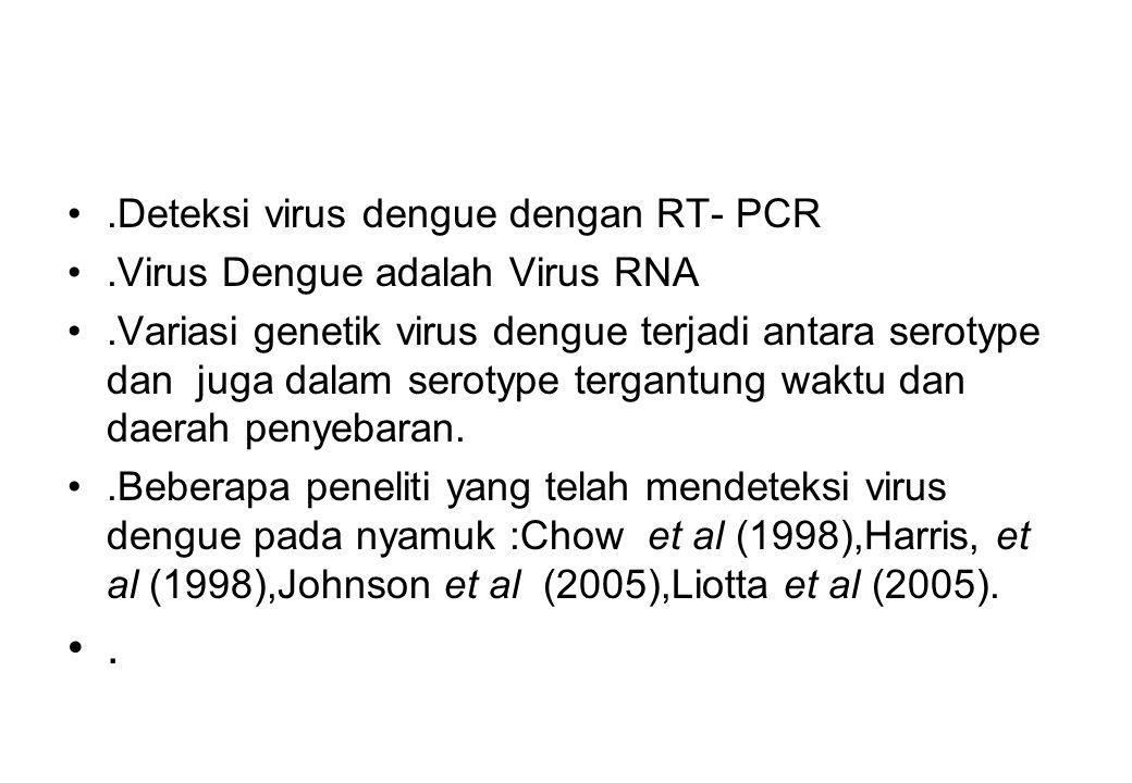Tujuan Penelitian Tahun I Mengoleksi dan mengidentifikasi nyamuk vektor DBD (telur,larva dan dewasa) Mengetahui serotype virus dengue dari nyamuk vektor dengan metoda RT-PCR Menganalisis diversitas genetik serotype virus dengue dibanding dengan isolat Genebank Tahun II Menganalisis diversitas genetik nyamuk vektor DBD dengan metoda RAPD-PCR Mengetahui perkembangan ke 4 serotype virus dengue pada nyamuk vektor.
