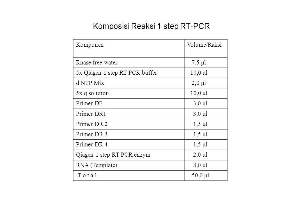 Komposisi Reaksi 1 step RT-PCR KomponenVolume/Raksi Rnase free water 7,5 μl 5x Qiagen 1 step RT PCR buffer 10,0 μl d NTP Mix 2,0 μl 5x q solution 10,0