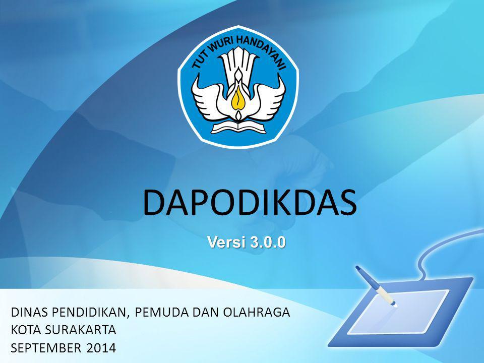 DAPODIKDAS DINAS PENDIDIKAN, PEMUDA DAN OLAHRAGA KOTA SURAKARTA SEPTEMBER 2014 Versi 3.0.0