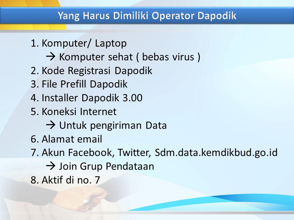 1.Komputer/ Laptop  Komputer sehat ( bebas virus ) 2.Kode Registrasi Dapodik 3.File Prefill Dapodik 4.Installer Dapodik 3.00 5.Koneksi Internet  Untuk pengiriman Data 6.Alamat email 7.Akun Facebook, Twitter, Sdm.data.kemdikbud.go.id  Join Grup Pendataan 8.Aktif di no.