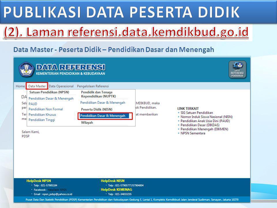 Data Master - Peserta Didik – Pendidikan Dasar dan Menengah
