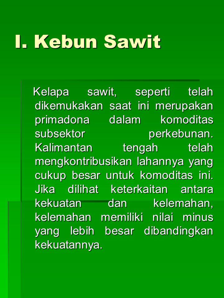 I. Kebun Sawit Kelapa sawit, seperti telah dikemukakan saat ini merupakan primadona dalam komoditas subsektor perkebunan. Kalimantan tengah telah meng
