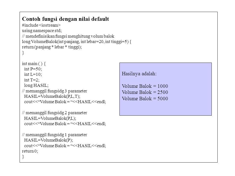 Contoh fungsi dengan nilai default #include using namespace std; // mendefinisikan fungsi menghitung volum balok long VolumeBalok(int panjang, int leb
