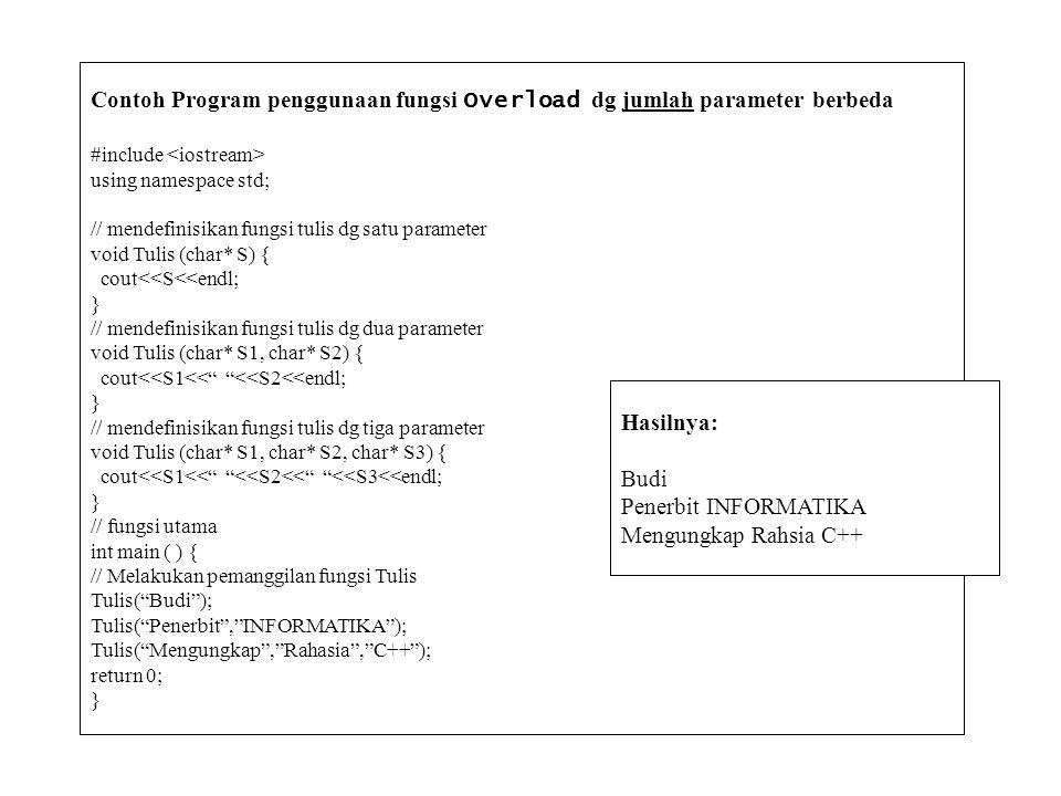 Contoh Program penggunaan fungsi Overload dg jumlah parameter berbeda #include using namespace std; // mendefinisikan fungsi tulis dg satu parameter v