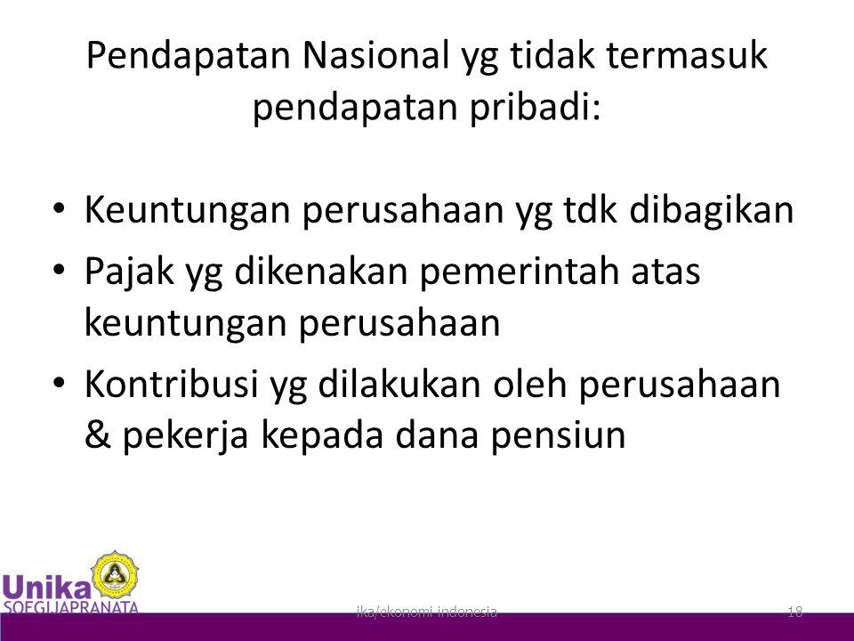 Pendapatan Nasional yg tidak termasuk pendapatan pribadi: Keuntungan perusahaan yg tdk dibagikan Pajak yg dikenakan pemerintah atas keuntungan perusahaan Kontribusi yg dilakukan oleh perusahaan & pekerja kepada dana pensiun ika/ekonomi indonesia18