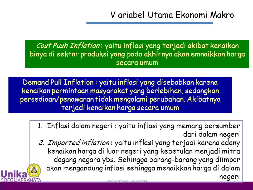 ika/ekonomi indonesia22 V ariabel Utama Ekonomi Makro Cost Push Inflation : yaitu inflasi yang terjadi akibat kenaikan biaya di sektor produksi yang pada akhirnya akan emnaikkan harga secara umum Demand Pull Inflation : yaitu inflasi yang disebabkan karena kenaikan permintaan masyarakat yang berlebihan, sedangkan persediaan/penawaran tidak mengalami perubahan.