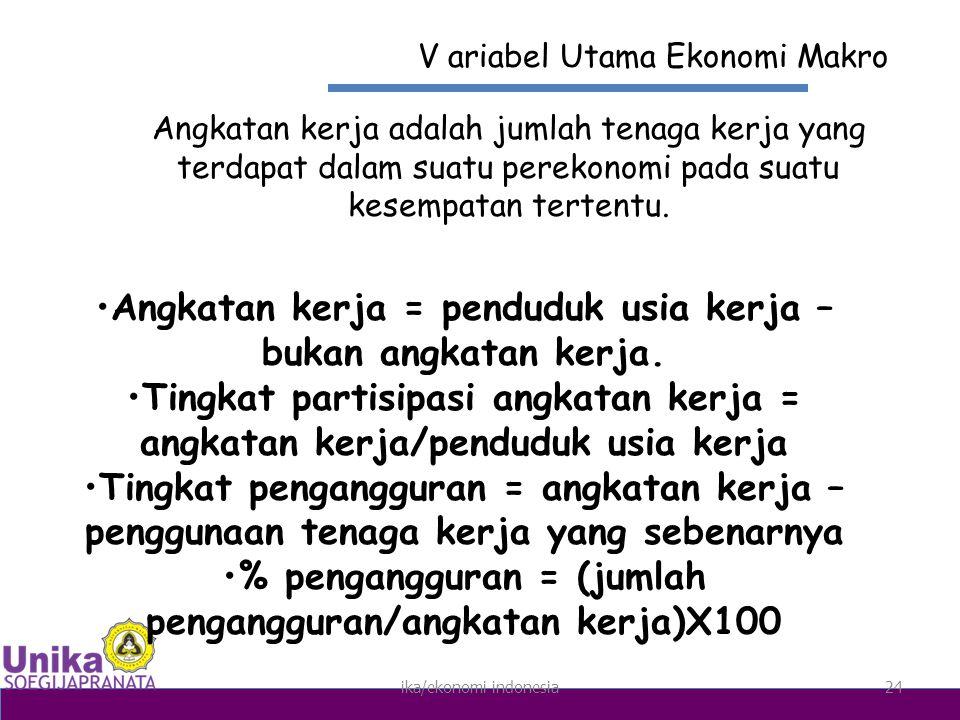 ika/ekonomi indonesia24 V ariabel Utama Ekonomi Makro Angkatan kerja adalah jumlah tenaga kerja yang terdapat dalam suatu perekonomi pada suatu kesempatan tertentu.