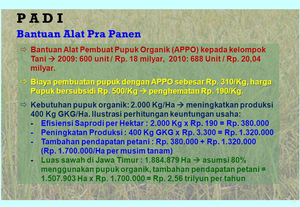  Bantuan Alat Pembuat Pupuk Organik (APPO) kepada kelompok Tani  2009: 600 unit / Rp. 18 milyar, 2010: 688 Unit / Rp. 20,04 milyar.  Biaya pembuata