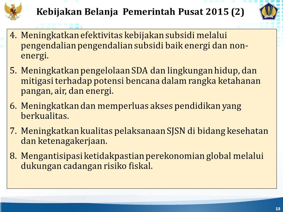 13 Kebijakan Belanja Pemerintah Pusat 2015 (2) 4.Meningkatkan efektivitas kebijakan subsidi melalui pengendalian pengendalian subsidi baik energi dan non- energi.