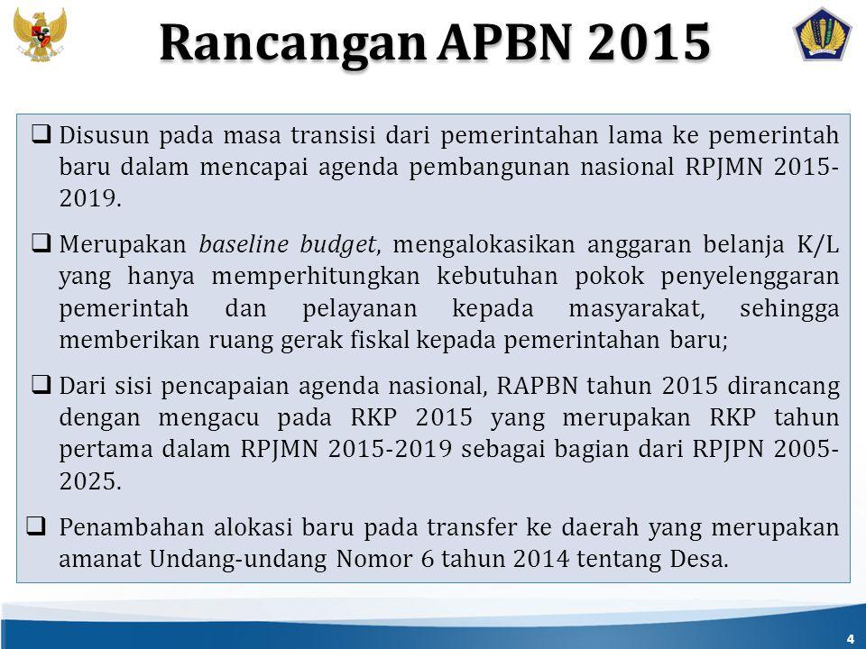 4  Disusun pada masa transisi dari pemerintahan lama ke pemerintah baru dalam mencapai agenda pembangunan nasional RPJMN 2015- 2019.