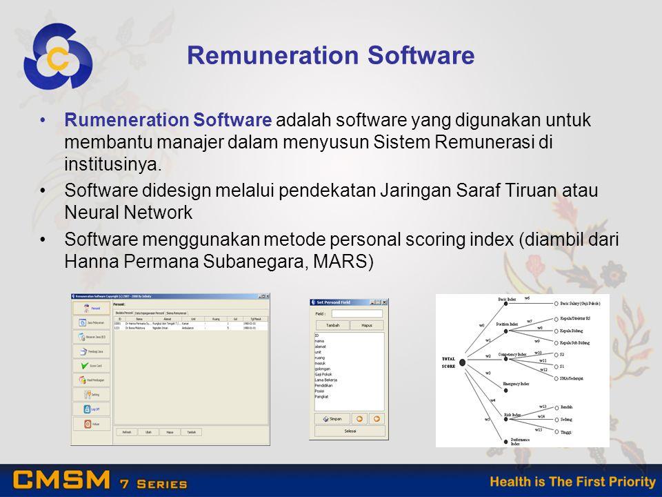 Remuneration Software Rumeneration Software adalah software yang digunakan untuk membantu manajer dalam menyusun Sistem Remunerasi di institusinya.