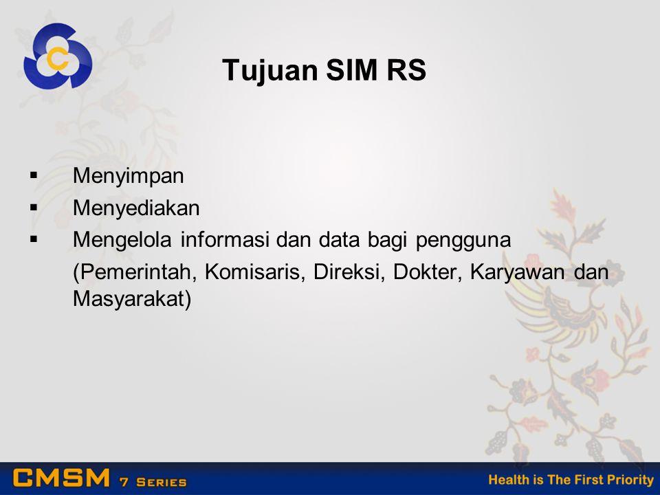 Tujuan SIM RS  Menyimpan  Menyediakan  Mengelola informasi dan data bagi pengguna (Pemerintah, Komisaris, Direksi, Dokter, Karyawan dan Masyarakat)