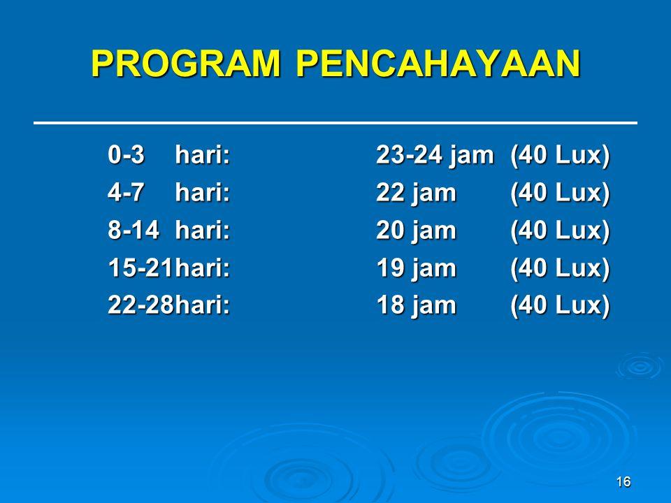 16 PROGRAM PENCAHAYAAN 0-3 hari:23-24 jam(40 Lux) 4-7 hari:22 jam (40 Lux) 8-14 hari:20 jam(40 Lux) 15-21hari:19 jam (40 Lux) 22-28hari:18 jam (40 Lux