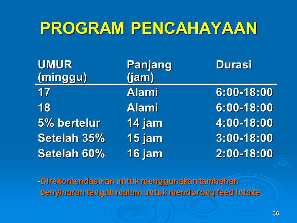 36 PROGRAM PENCAHAYAAN UMUR PanjangDurasi (minggu)(jam) 17Alami6:00-18:00 18Alami6:00-18:00 5% bertelur14 jam4:00-18:00 Setelah 35%15 jam3:00-18:00 Se