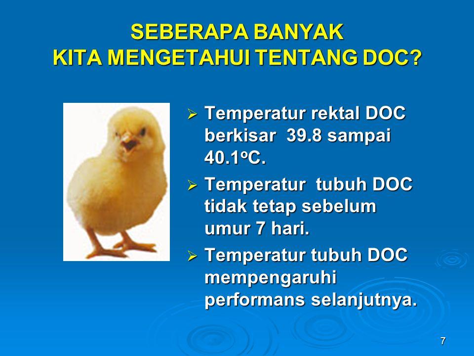 7 SEBERAPA BANYAK KITA MENGETAHUI TENTANG DOC?  Temperatur rektal DOC berkisar 39.8 sampai 40.1 o C.  Temperatur tubuh DOC tidak tetap sebelum umur