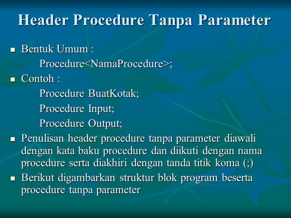 Header Procedure Tanpa Parameter Bentuk Umum : Bentuk Umum :Procedure<NamaProcedure>; Contoh : Contoh : Procedure BuatKotak; Procedure Input; Procedur