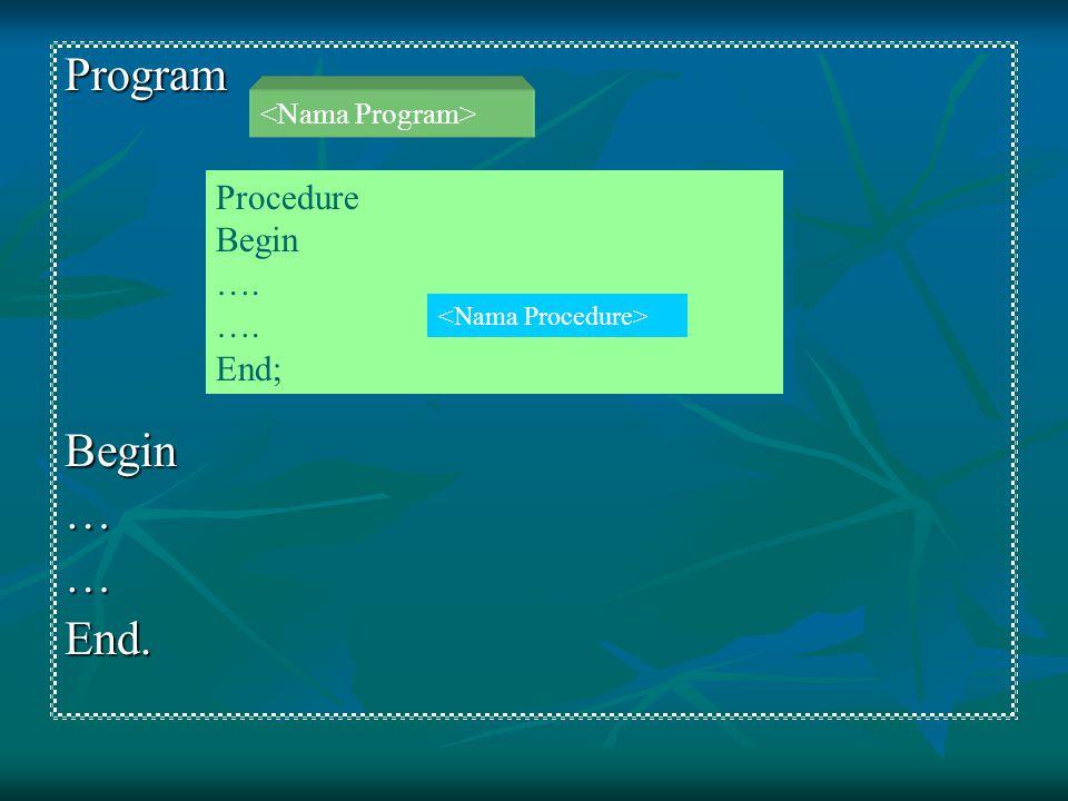 ProgramBegin……End. Procedure Begin …. End; Procedure Begin …. End;