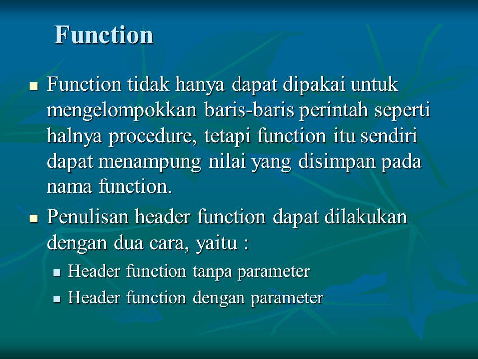 Function Function tidak hanya dapat dipakai untuk mengelompokkan baris-baris perintah seperti halnya procedure, tetapi function itu sendiri dapat mena