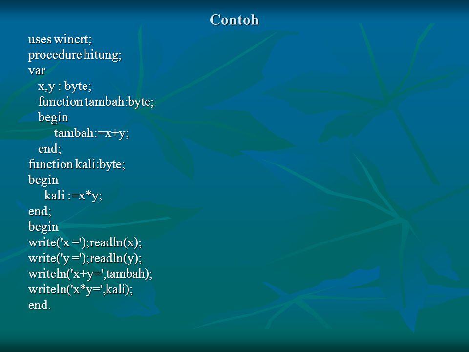 Contoh uses wincrt; procedure hitung; var x,y : byte; x,y : byte; function tambah:byte; function tambah:byte; begin begin tambah:=x+y; tambah:=x+y; en