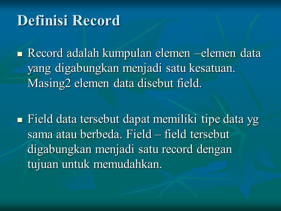 Definisi Record Record adalah kumpulan elemen –elemen data yang digabungkan menjadi satu kesatuan. Masing2 elemen data disebut field. Record adalah ku