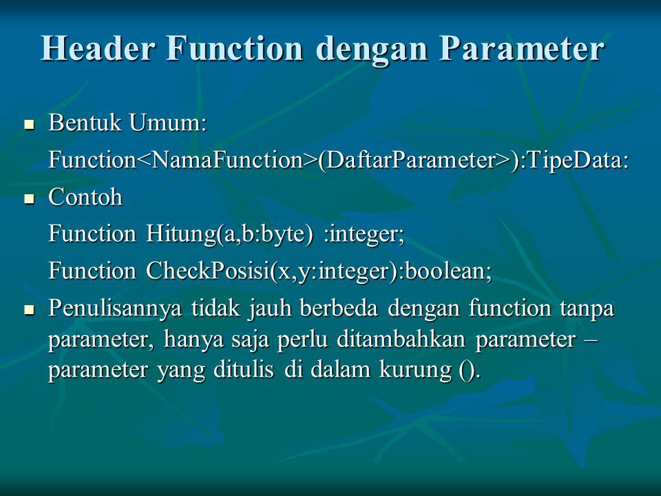 Header Function dengan Parameter Bentuk Umum: Bentuk Umum:Function<NamaFunction>(DaftarParameter>):TipeData: Contoh Contoh Function Hitung(a,b:byte) :