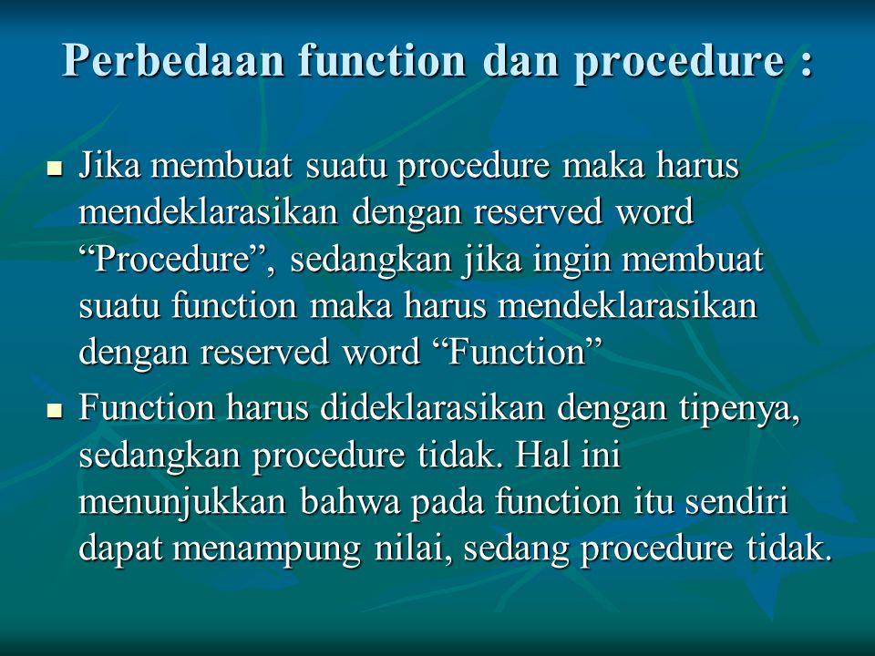 """Perbedaan function dan procedure : Jika membuat suatu procedure maka harus mendeklarasikan dengan reserved word """"Procedure"""", sedangkan jika ingin memb"""
