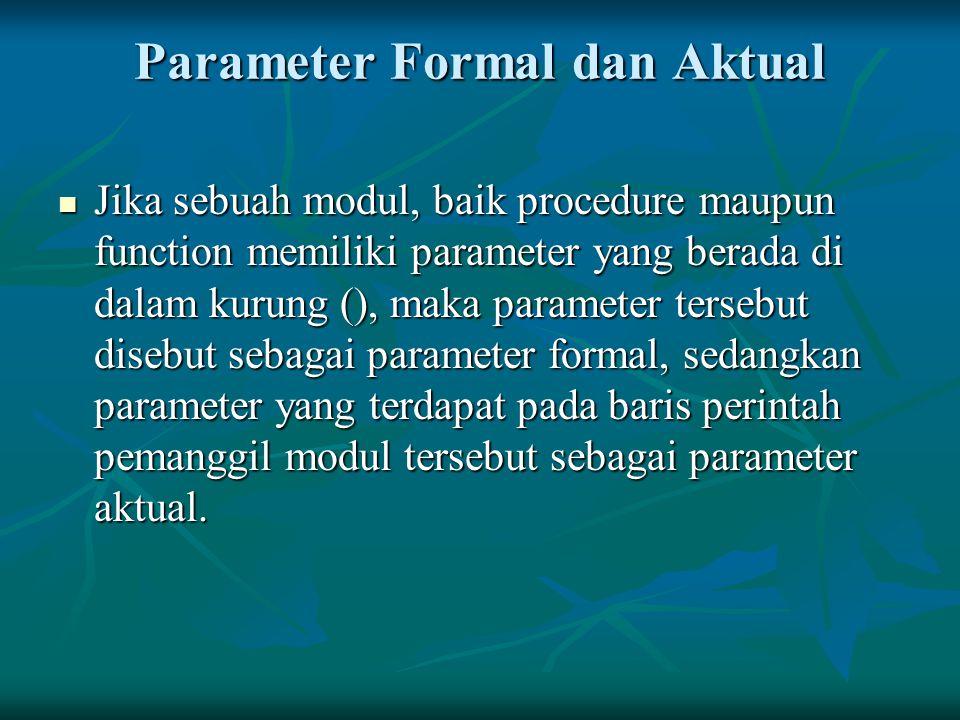 Parameter Formal dan Aktual Jika sebuah modul, baik procedure maupun function memiliki parameter yang berada di dalam kurung (), maka parameter terseb