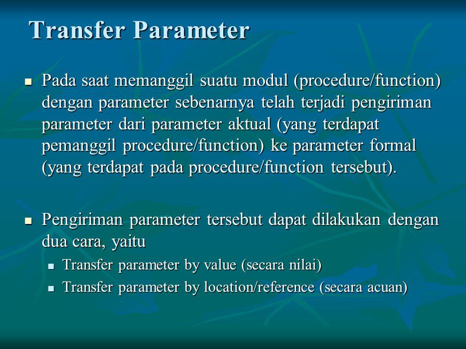 Transfer Parameter Pada saat memanggil suatu modul (procedure/function) dengan parameter sebenarnya telah terjadi pengiriman parameter dari parameter